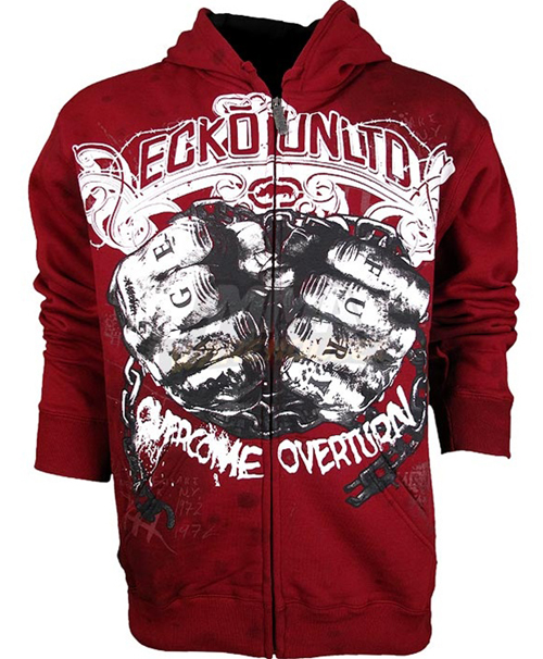 Ecko Unltd.   Lockdown  Full Zip Hoodie. Featuring a pair of chain clenching fists shackled up on the front, complete with knuckle tattoos that read