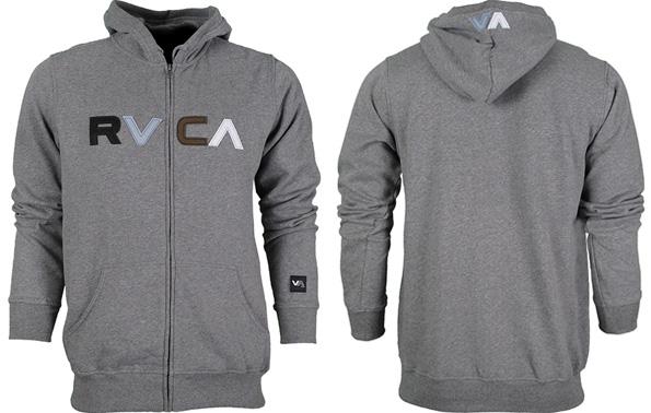 CLICK TO BUY: RVCA Logo Zip-Up Hoodie (grey