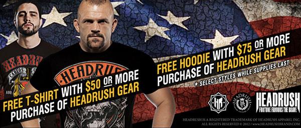 mma deal free headrush shirt or hoodie
