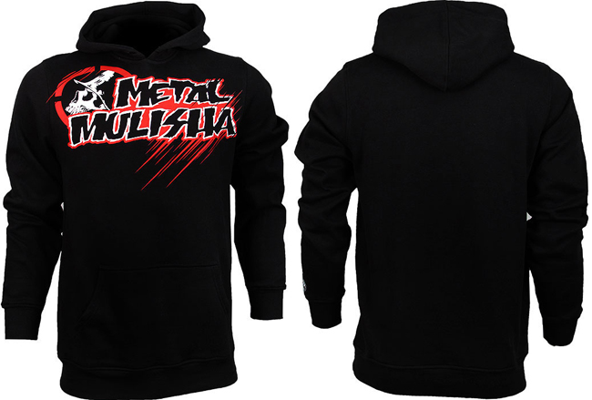 If you're into basic logo hoodies, but want something that packs a bit of punch, check out this popover sweatshirt style from the Metal Mulisha MMA