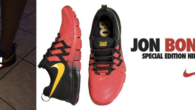 "super popular 6a588 19c22 Jon ""Bones"" Jones Wearing the Nike Free Trainer 5.0 ""Team Jones"" Shoes"