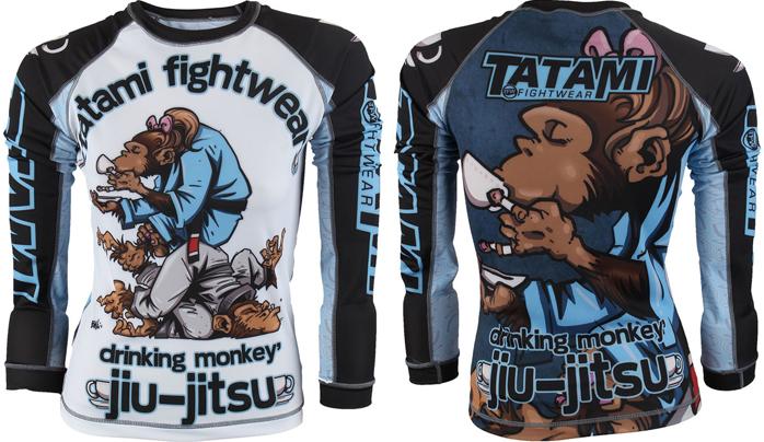Tatami Thinker Monkey BJJ Mens Rash Guard Long Sleeve BJJ NO GI Rashguard MMA