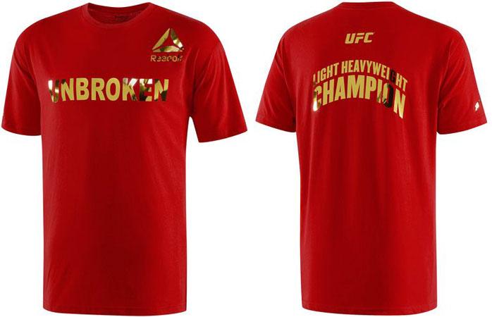 Reebok Jon Jones Unbroken Shirt Red Gold Fighterxfashion Com