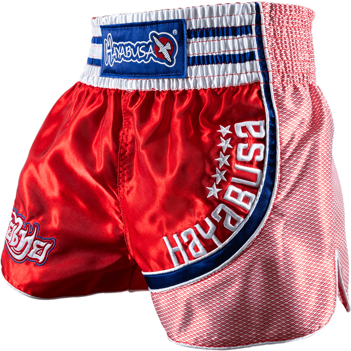 hayabusa-lion-warrior-muay-thai-shorts-red