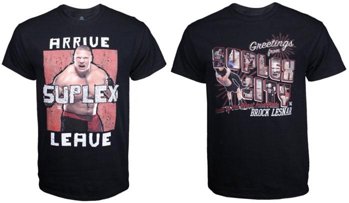Brock Lesnar Arrive Suplex Leave WWE Mens T-shirt