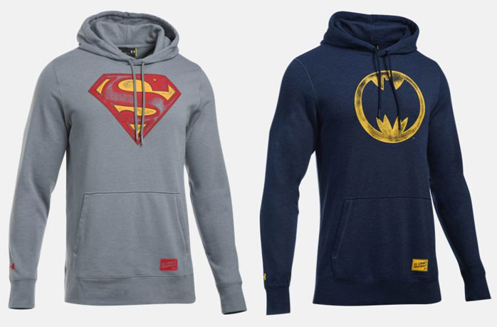 Under Armour Alter Ego Superman and Batman Vintage Hoodies