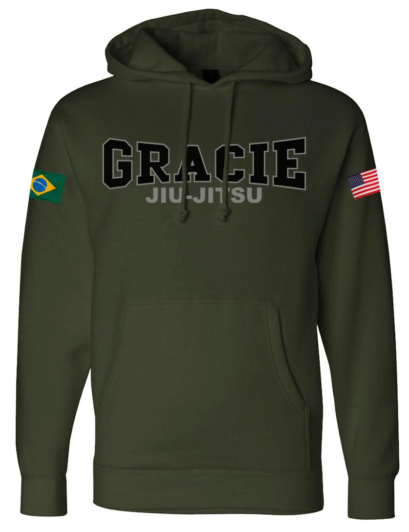 Gracie Jiu Jitsu Retro Flag Hoodie Fighterxfashion Com