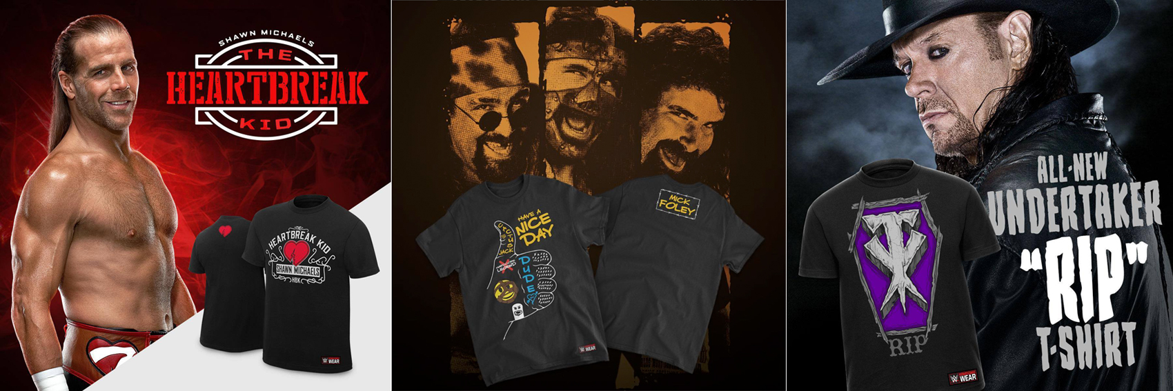 30a5d2a7d New Retro WWE Tees Mick Foley Undertaker Shawn Michaels and More ...